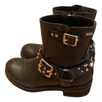 Karl Lagerfeld Paris Black Leather Boots