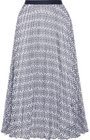 Oscar de la Renta Pleated Broderie Anglaise Cotton-blend Skirt - US8