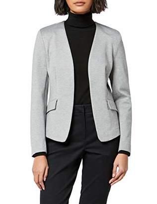 MERAKI Women's Collarless Stretch Jersey Comfort Blazer, (Black)), (Size:3XL)