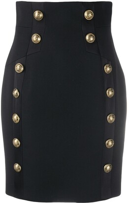 Balmain Button-Embellished Pencil Skirt