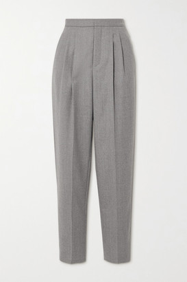 Saint Laurent Pleated Wool-twill Tapered Pants - Gray