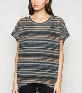 New Look Multi Stripe Crochet Top