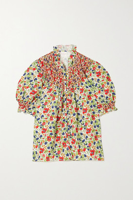 Loretta Caponi Milvia Ruffled Smocked Floral-print Poplin Blouse - Green