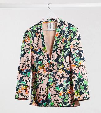 Collusion Unisex hawaiian floral print blazer with plastisol back print