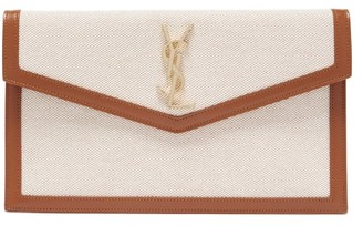 Saint Laurent Uptown Canvas And Leather Pouch - Brown Multi