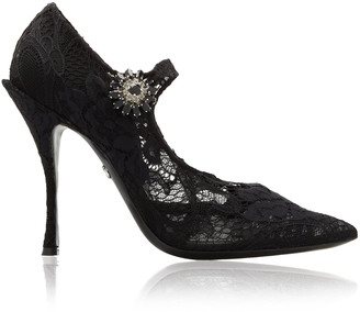 Dolce & Gabbana Embellished Lace Mary Jane Pumps