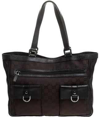 Gucci Dark Brown GG Nylon and Leather Abbey Pocket Tote