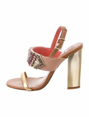 Tory Burch Vegetarian Leather Crystal Embellishments Slingback Sandals Gold