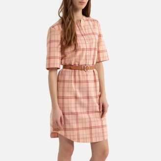 La Redoute Collections Mini Shift Dress in Checked Cotton/Linen Mix with Short Sleeves