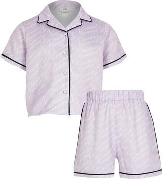 River Island Girls Purple 'Dreamer' satin pyjama set