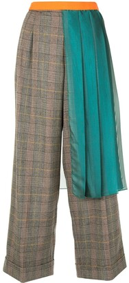 Kolor Pleated Panel Wide-Leg Trousers