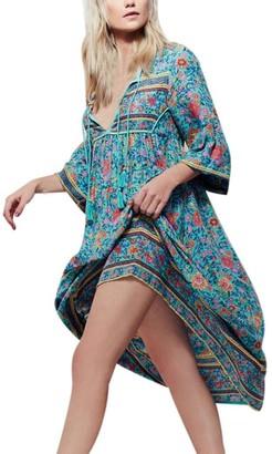 TUDUZ Hot Women Casual Elegant Floral Print Long Sleeve Boho Dress Ladies Evening Party Long Maxi Dress (Blue M)