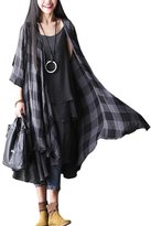 Mordenmiss Women's New Plaid Three Quarters Sleeve Thin Dresses