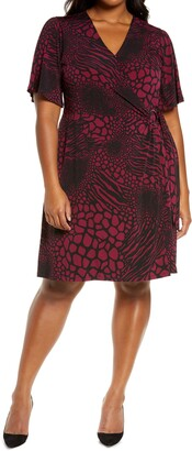 MICHAEL Michael Kors Animal Print Wrap Front A-Line Dress