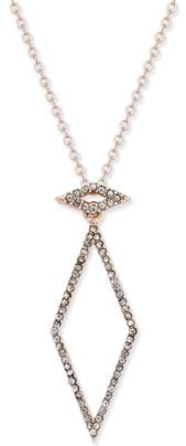 INC International Concepts Rose Gold-Tone Geometric Pavé Crystal Necklace, Created for Macy's