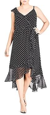 City Chic Plus Dot Print Ruffled Midi Dress