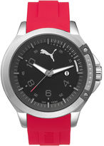 Puma Pioneer Black Dial Red Silicone Strap Watch PU104011003