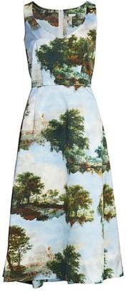 Comme des Garcons Inkjet Printed Satin Dress
