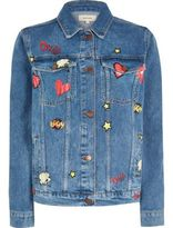 River Island Womens Mid blue wash comic print denim jacket