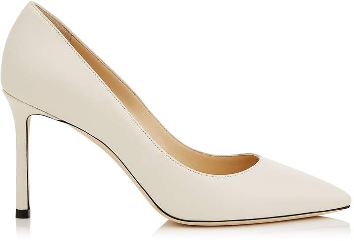 Jimmy Choo ROMY 85 Linen Kid Leather Pointy Toe Pumps