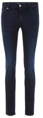 BOSS Slim-fit jeans in blue-black super-stretch denim