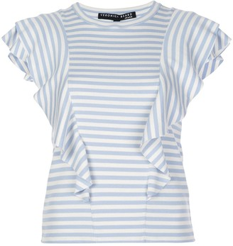 Veronica Beard striped-print ruffled T-shirt