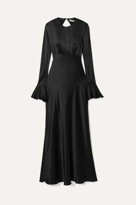 Les Rêveries Open-back Silk-satin Maxi Dress - Black