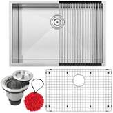 """Ticor Sinks Pacific Series 16-Gauge Stainless Steel 28"""" L x 19"""" W Undermount Kitchen Sink with Accessories Ticor Sinks"""