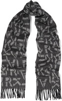 Karl Lagerfeld Intarsia wool and cashmere-blend scarf