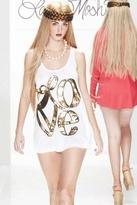 Lauren Moshi Lily Love Bracelet Swing Tank in White