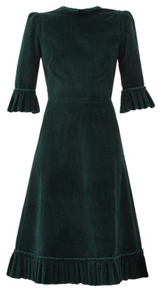 The Vampire's Wife The Festival Jumbo-cord Cotton Midi Dress - Dark Green