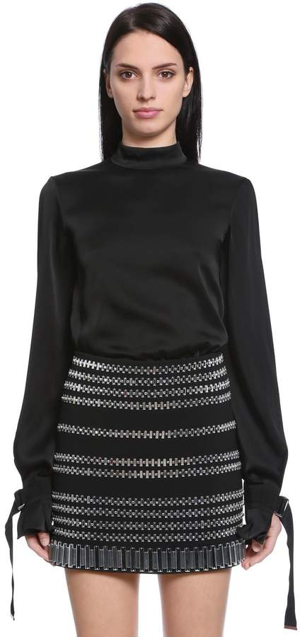 David Koma Satin Blouse W/ Cutout Sleeves