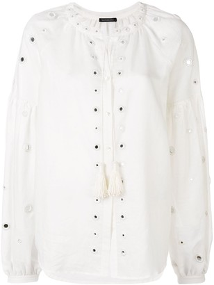Wandering Perforated Detail Button-Up Shirt