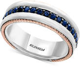 Effy Men's Sapphire Band (1 ct. t.w.) in Sterling Silver, 18k Rose Gold and Black Rhodium