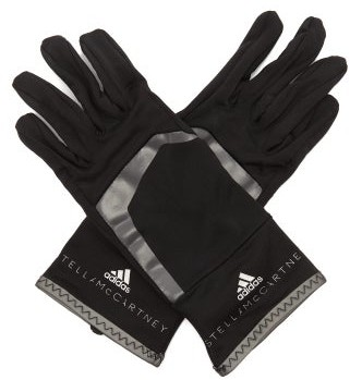 adidas by Stella McCartney Logo-print French-terry Gloves - Black