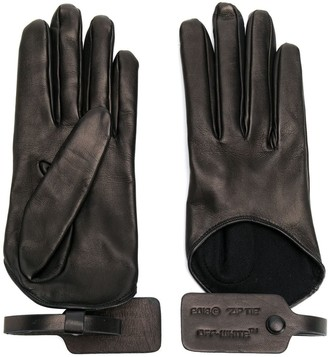 Off-White tag leather gloves