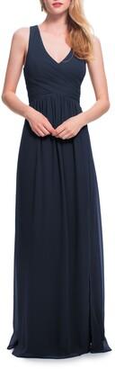 #Levkoff Back Cutout Chiffon A-Line Gown
