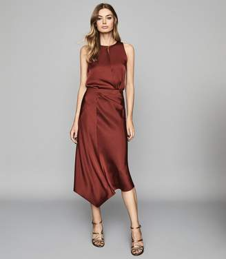 Reiss MARTINE Draped Front Sleeveless Top Red