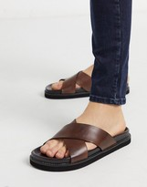 Walk London tommy sandals in brown leather