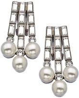Ben-Amun Ben Amun Silver Pearl And Crystal Baguette Earrings