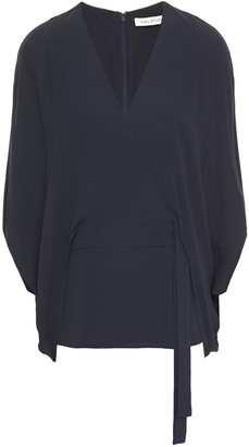 Halston Wrap-effect Layered Crepe Top