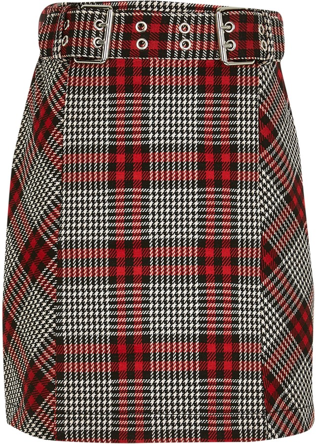 River Island Girls Red biker buckle skirt