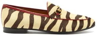 Gucci Jordaan Tiger-print Leather Loafers - Black Beige