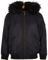 River Island Boys navy padded MA1 bomber jacket with hood