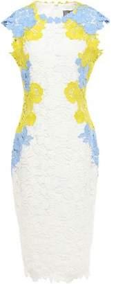 Lela Rose Appliqued Guipure Lace Midi Dress