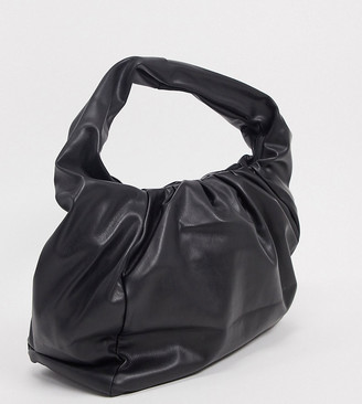 Glamorous Exclusive slouchy ruched tote bag in black