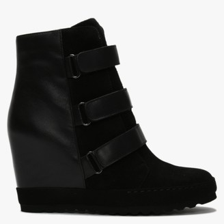 Daniel Plou Black Leather & Suede Concealed Wedge Ankle Boots