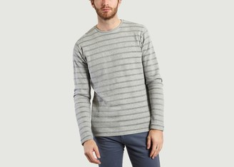 Knowledge Cotton Apparel Striped Organic Cotton Sweatshirt - L