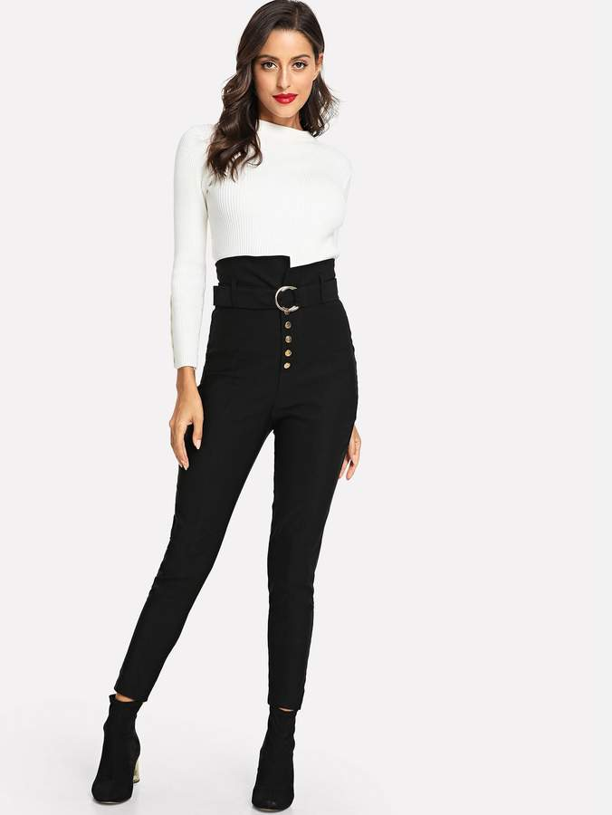 Button Fly O-Ring Belted Skinny Pants