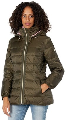 Kate Spade Mid Weight Short Down Puffer Jacket (Deep Moss/Dried Rose) Women's Coat